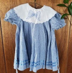 Vintage Blue Girls Lace Collar Dress